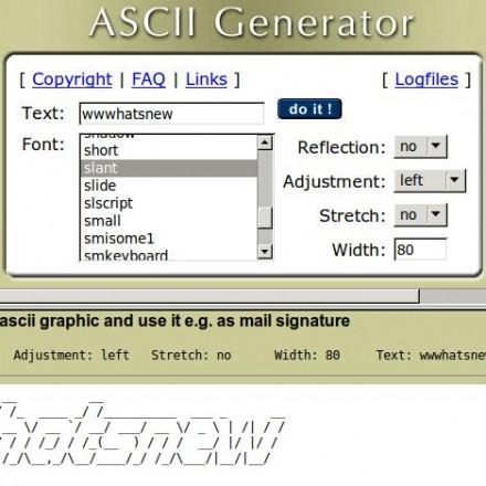 ASCII Generator - Cualquier palabra en varios modos ASCII
