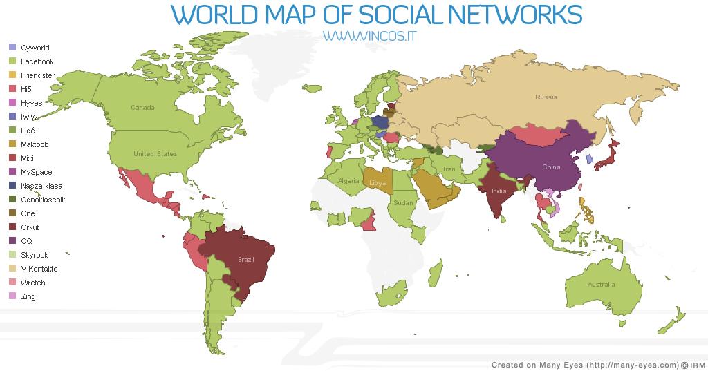 Mapa mundial de redes sociales