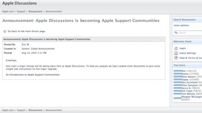 Apple convertirá sus foros de soporte en una red social