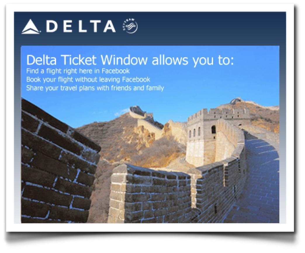 Delta vende billetes de avión en Facebook