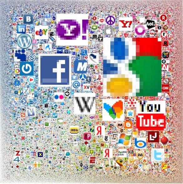 Infografía: Mosaico de favicons de los sitios web más grandes