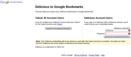 Delicious to Google Bookmarks
