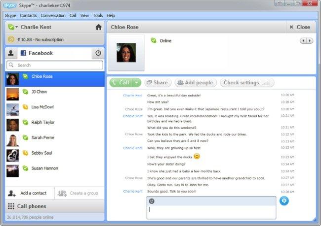 Skype 5.5 (Beta): Más integración con Facebook