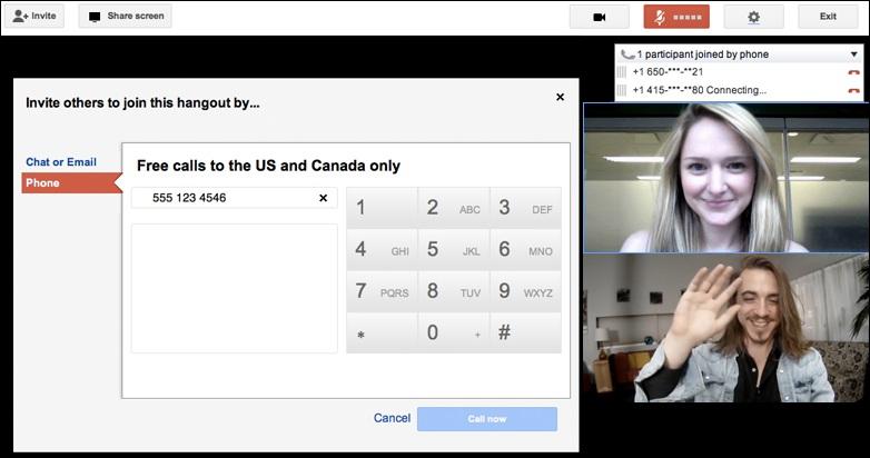 Google Hangouts permite incluir usuarios telefónicos (sólo EE.UU y Canadá)