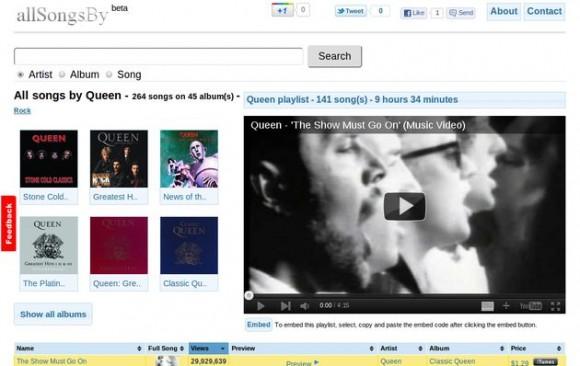 allSongsBy: organizador de canciones para Youtube