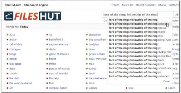 FilesHut: busca archivos en sitios de descarga directa