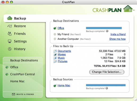 Crash Plan: realize backups online