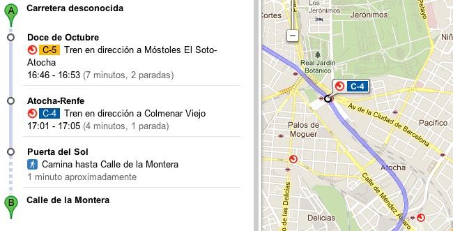 Google Maps integra datos de la red de Cercanías de Renfe en Madrid
