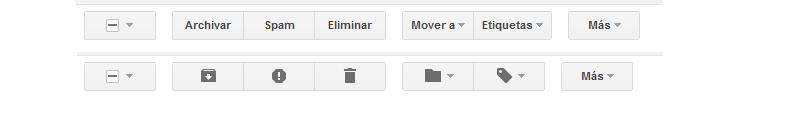 Gmail: Elige iconos o texto para la barra de herramientas