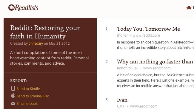 Readlists: Agrupa varias webs en un ebook