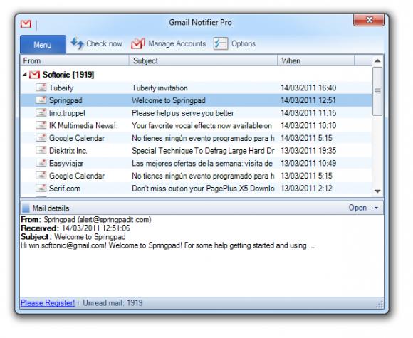 Gmail Notifier Pro: todas tus cuentas en un solo lugar