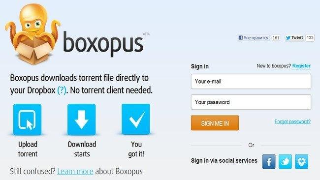 Boxopus: Descarga torrents a Dropbox
