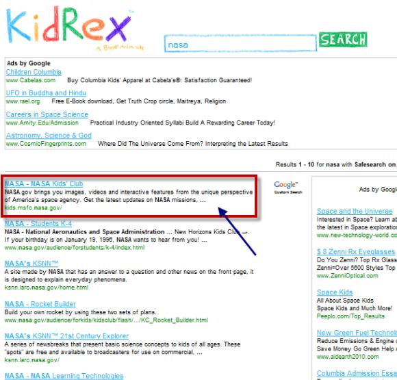 Buscador seguro y confiable para niños: KidRex