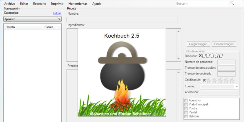 Cookbook 2.5 es una base de datos para tus recetas de cocina