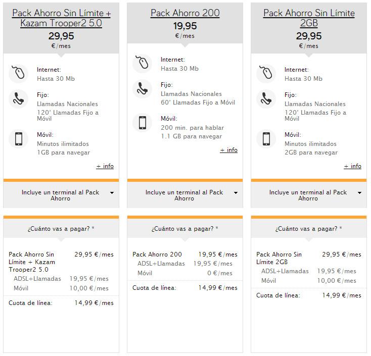 Jazztel estrena dos nuevos packs con ADSL y móvil