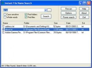 Instant File Name Search: buscador de archivos en local y remoto