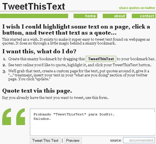 Envía textos hacia Twitter con TweetThisText