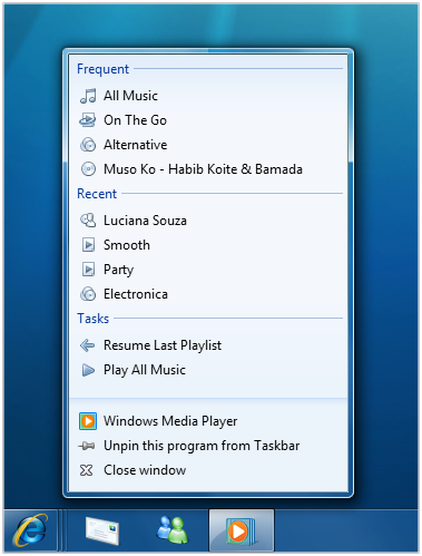 Adelantos de Windows Media Player 12