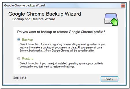 Realiza una copia de seguridad de las configuraciones, con Google Chrome Backup