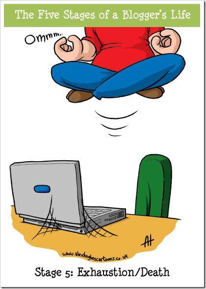 Caricatura: Las cinco etapas de un blogger