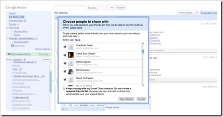 Ahora Google Reader permite elegir los contactos con los que compartiremos nuestros artículos