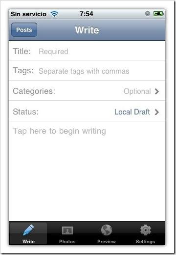 Ahora podremos crear nuevas noticias en nuestro blog de WordPress desde nuestro iPhone / iPod