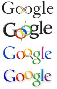 Colección de logotipos usados en el buscador de Google desde 1999