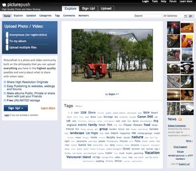 PicturePush, alojamiento de imágenes de alta calidad