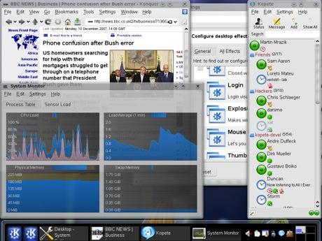KDE4 es capaz de rodar bien con 256mb de ram y 1ghz de CPU