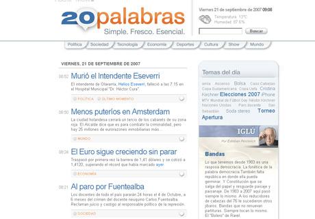 Distribuyendo el periodismo a través del microblogging, 20Palabras
