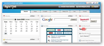 mysurfpad.com - Nueva página de inicio para competir con Netvibes, iGoogle ...